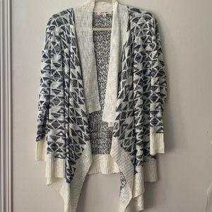Cream, grey and black print cardigan